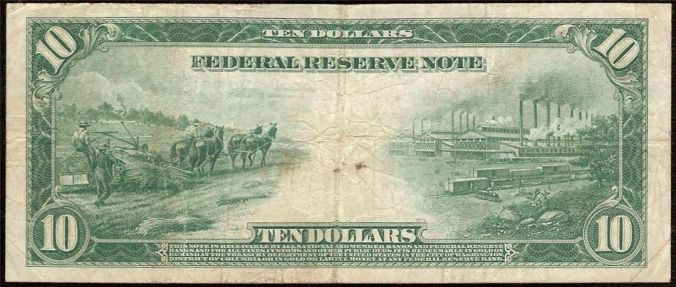 US 1914 $10 bill printed on hemp paper with image of hemp being harvested on the left.